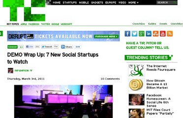 http://techcrunch.com/2011/03/03/demo-wrap-up-7-new-social-startups-to-watch/