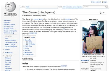 http://en.wikipedia.org/wiki/The_Game_(mind_game)
