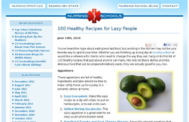 http://www.nursingschools.net/blog/2010/06/100-healthy-recipes-for-lazy-people/