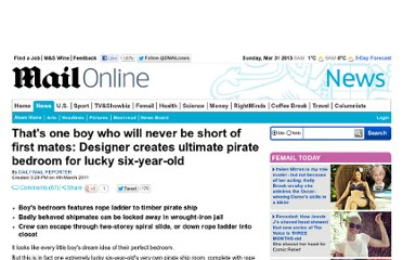 http://www.dailymail.co.uk/news/article-1363023/Thats-boy-short-mates-Designer-creates-ultimate-pirate-bedroom-lucky-year-old.html