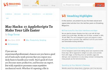 http://www.smashingmagazine.com/2009/05/22/mac-hacks-17-applescripts-to-make-your-life-easier/