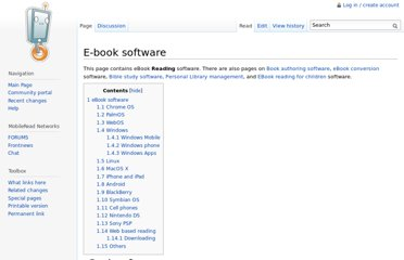 http://wiki.mobileread.com/wiki/E-book_software