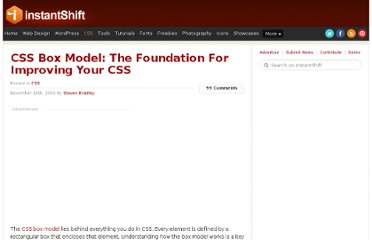 http://www.instantshift.com/2009/11/16/css-box-model-the-foundation-for-improving-your-css/