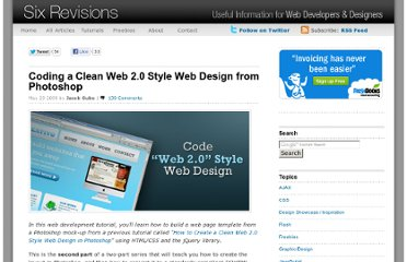 http://sixrevisions.com/tutorials/web-development-tutorials/coding-a-clean-web-20-style-web-design-from-photoshop/