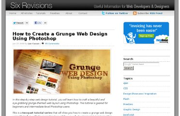 http://sixrevisions.com/tutorials/photoshop-tutorials/how-to-create-a-grunge-web-design-using-photoshop/