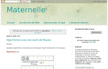 http://exercicesmaternelle.blogspot.com/search/label/algorithme