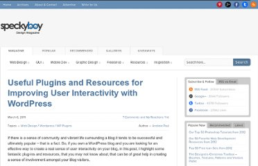 http://speckyboy.com/2011/03/06/useful-plugins-and-resources-for-improving-user-interactivity-with-wordpress/