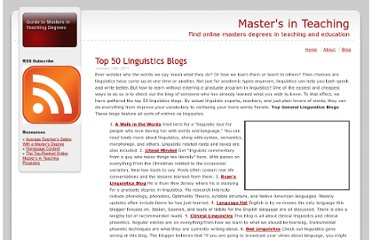 http://www.mastersinteaching.com/top-50-linguistics-blogs/