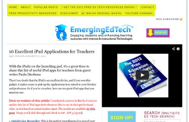 http://www.emergingedtech.com/2011/03/10-excellent-ipad-applications-for-teachers/