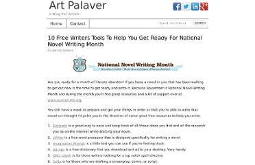 http://www.artpalaver.com/10-free-writers-tools-ready-national-writing-month/