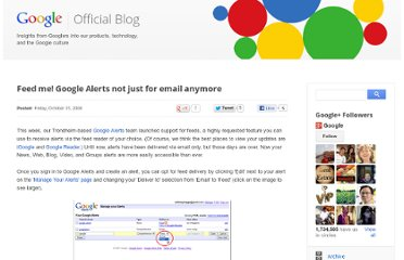 http://googleblog.blogspot.com/2008/10/feed-me-google-alerts-not-just-for.html