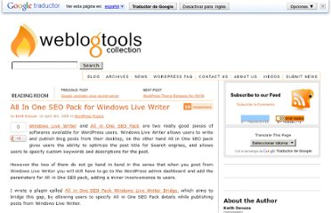 http://weblogtoolscollection.com/archives/2009/04/06/all-in-one-seo-pack-for-windows-live-writer/