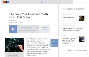http://www.npr.org/2011/03/05/134277079/the-way-you-learned-math-is-so-old-school