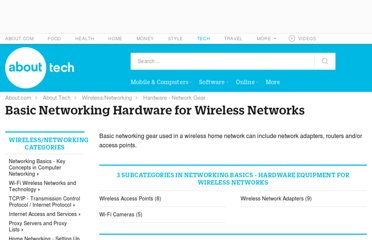 http://compnetworking.about.com/od/homenetworkhardware/Network_Hardware_for_Wireless_Networks.htm