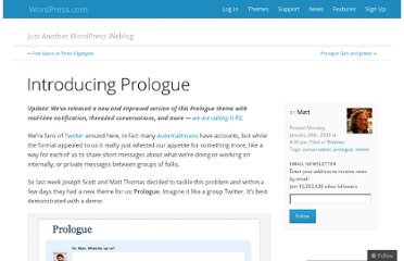 http://en.blog.wordpress.com/2008/01/28/introducing-prologue/