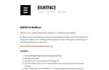 http://eightface.com/wordpress/flickrrss/