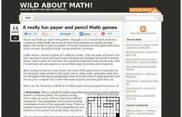 http://wildaboutmath.com/2008/01/14/8-really-fun-paper-and-pencil-math-games/
