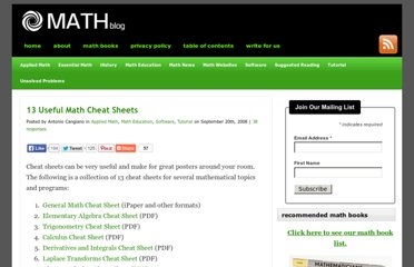 http://math-blog.com/2008/09/20/13-useful-math-cheat-sheets/