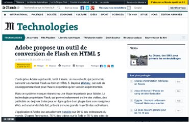 http://www.lemonde.fr/technologies/article/2011/03/08/adobe-propose-un-outil-de-conversion-de-flash-en-html-5_1489905_651865.html#xtor=RSS-3208