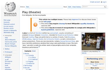 http://en.wikipedia.org/wiki/Play_(theatre)