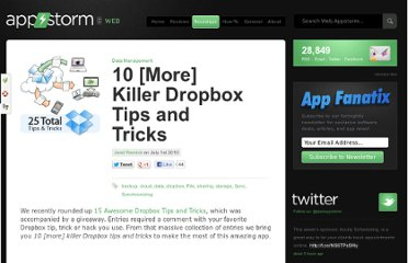 http://web.appstorm.net/roundups/data-management-roundups/10-more-killer-dropbox-tips-and-tricks/