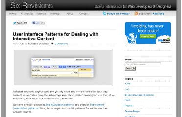 http://sixrevisions.com/user-interface/user-interface-patterns-for-dealing-with-interactive-content/