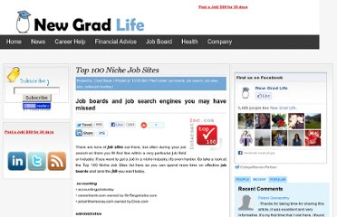 http://newgradlife.blogspot.com/2009/12/top-100-niche-job-sites.html