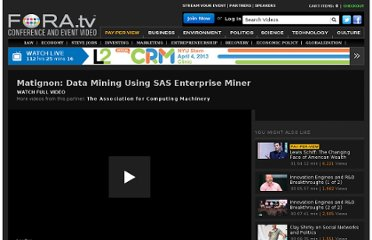 http://fora.tv/2008/08/13/Matignon_Data_Mining_Using_SAS_Enterprise_Miner