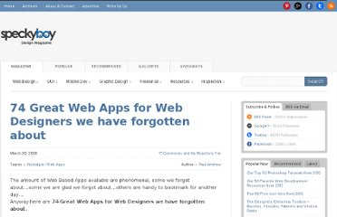 http://speckyboy.com/2008/03/30/74-great-web-apps-for-web-designers-we-have-forgotten-about/