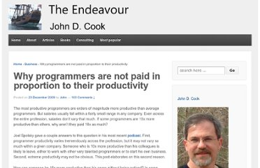 http://www.johndcook.com/blog/2009/12/23/why-programmers-are-not-paid-in-proportion-to-their-productivity/