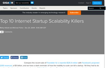 http://gigaom.com/2009/12/20/top-10-internet-startup-scalability-killers/