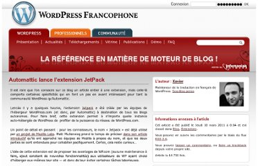 http://www.wordpress-fr.net/blog/blog/automattic-lance-lextension-jetpack?utm_source=feedburner&utm_medium=feed&utm_campaign=Feed%3A+WordpressFrancophone+%28WordPress+Francophone%29