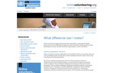 http://www.onlinevolunteering.org/en/vol/resources/what_difference_can_i_make.html