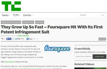 http://techcrunch.com/2011/03/11/they-grow-up-so-fast-foursquare-hit-with-its-first-patent-infringement-suit/