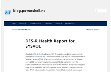 http://blog.powershell.no/2010/12/30/dfs-r-health-report-for-sysvol/