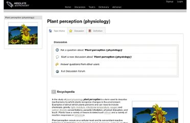 http://www.absoluteastronomy.com/topics/Plant_perception_(physiology)