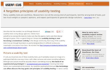 http://www.userfocus.co.uk/articles/4-forgotten-principles-of-usability-testing.html