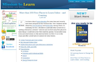 http://www.missiontolearn.com/2008/02/more-than-100-free-places-to-learn-online-and-counting/