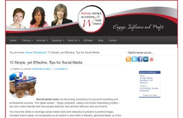 http://www.socialmediaacademyforwomen.com/2011/03/10-simple-yet-effective-tips-for-social-media/