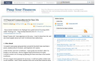 http://www.pimpyourfinances.com/2009/01/10-financial-commandments-for-your-20s/