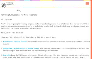http://www.teachingdegree.org/2009/06/21/100-helpful-websites-for-new-teachers/