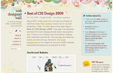 http://webdesignerwall.com/trends/best-of-css-design-2009