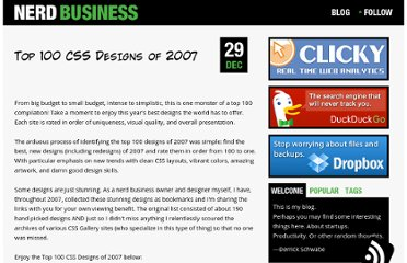 http://nerdbusiness.com/blog/top-100-css-designs-2007