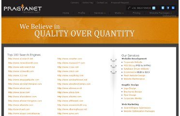 http://www.pragyanet.com/marketing/top100searchengine.htm
