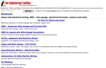 http://www.engineeringtoolbox.com/electrical-systems-t_33.html
