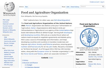 http://en.wikipedia.org/wiki/Food_and_Agriculture_Organization