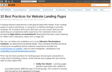 http://www.cmswire.com/cms/web-content/10-best-practices-for-website-landing-pages-003971.php