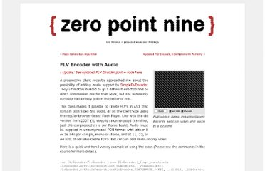 http://www.zeropointnine.com/blog/flv-encoder-with-audio/