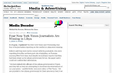 http://mediadecoder.blogs.nytimes.com/2011/03/16/four-new-york-times-journalists-are-missing-in-libya/