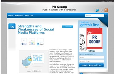 http://www.prscoup.com/634/strengths-and-weaknesses-of-social-media-platforms